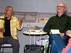 Jae Whitaker, left, laughs during her conversation with Joey Cain about LGBT aspects of 1967's Summer of Love