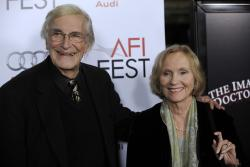 "Martin Landau, left, and Eva Marie Saint, who were fellow cast members in Alfred Hitchcock's 1959 film ""North by Northwest,"" pose together in 2009."