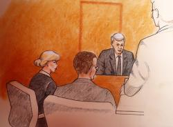 In this sketch by courtroom artist Jeff Kandyba, pop singer Taylor Swift, left, and a defense attorney look on as former radio host David Mueller, background right, speaks during a civil trial in federal court Tuesday, Aug. 8, 2017, in Denver