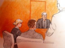 n this sketch by courtroom artist Jeff Kandyba, pop singer Taylor Swift, left, and a defense attorney look on as former radio host David Mueller, background right, speaks during a civil trial in federal court