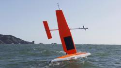 In this April 14, 2017 photo provided by Saildrone, a Saildrone vehicle maneuvers during a data collection mission in the Pacific Ocean off the California coast