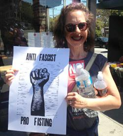An anti-fascist, pro-fisting supporter took part in the San Francisco protests August 26