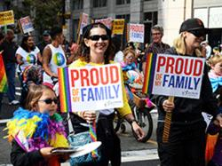Our Family Coalition had a large group of families in last year's Oakland Pride parade