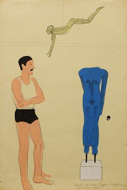 Joan Brown, David with Greek and Egyptian Sculptures #1 (1976), mixed media on paper. Courtesy of Estate of Joan Brown and Anglim Gilbert Gallery, San Francisco