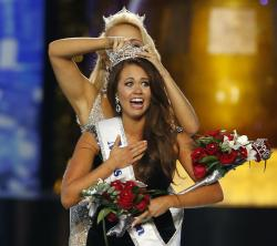 Miss North Dakota Cara Mund reacts after being named Miss America