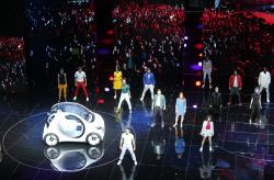 Models present the Smart vision EQ fortwo at a presentation of Mercedes-Benz on the first media day of the International Frankfurt Motor Show IAA in Frankfurt, Germany