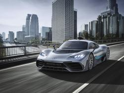 This photo provided by Daimler shows the Mercedes-AMG Project One that was shown at the 2017 Frankfurt auto show