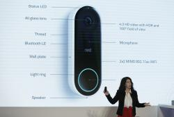 Michelle Turner, general manager of security products for Nest Labs, talks about the Hello doorbell during an event Wednesday, Sept. 20, 2017, in San Francisco