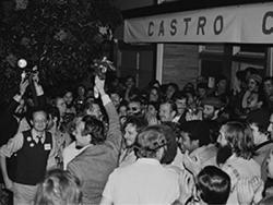 Supervisor Harvey Milk was surrounded by well-wishers after his election victory November 8, 1977
