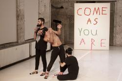 """Syrian migrants Medhat Aldaabal, Moufak Aldoabl and Amr Karkout, practice ahead of a performance of """"Come As You Are"""" in Berlin."""