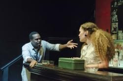 Omar Robinson and Evelyn Howe in Cliff Odle's new play 'Lost Tempo,' through Oct. 22 at Boston Playwrights' Theare