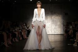 The collection of Inbal Dror is modeled during Bridal Fashion Week.