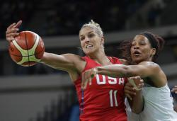 United States' Elena Delle Donne (11) and France's Marielle Amant, right