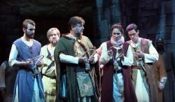 """A scene from Odyssey Opera's production of Donizetti's """"L'Assedio di Calais."""""""