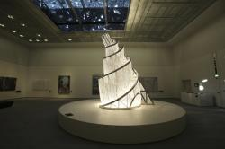 """Fountain of Light"" by Ai Weiwei, is displayed at the Louvre Museum in Abu Dhabi, United Arab Emirates."