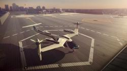 This computer generated image provided by Uber Technologies on Wednesday, Nov. 8, 2017 shows a flying taxi by Uber