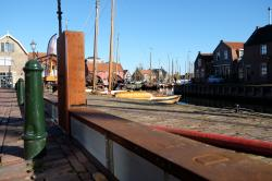 In this Nov. 6, 2017, photo, a self-raising dike is seen in the Dutch fishing village of Spakenburg