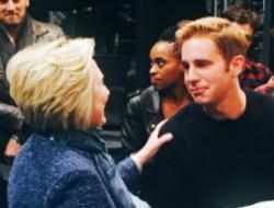 "Hillary Clinton visits with Tony Award-winner Ben Platt after Wednesday night's performance of ""Dear Evan Hansen'"
