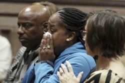 Katrina Johnson becomes emotional at the South Lee County Courthouse in Keokuk, Iowa after the jury returned a guilty verdict for Jorge Sanders-Galvez in the death of Johnson's transgender child, 16-year-old Kedarie Johnson