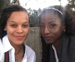 Chef Rhonda, left, with Rutina Wesley, right.