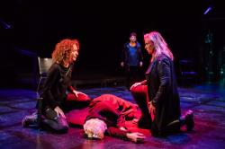"(l to r) Marianna Bassham, Liz Adams,  Marya Lowry, Bobbie Steinbach in ""Julius Caesar."" Photo: Maggie Hall"