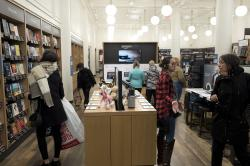 Customers browse at an Amazon Books store, Monday, Nov. 20, 2017, in New York