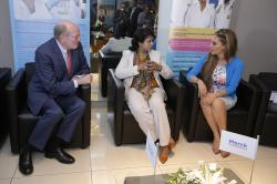 Prof. Frank Stangenberg-Haverkamp, Chairman of the Executive Board of E. Merck KG, President of the Republic of Mauritius, Her Excellency Mrs. Ameenah Grurib-Fakim (centre) and Dr. Rasha Kelej, CEO of Merck Foundation