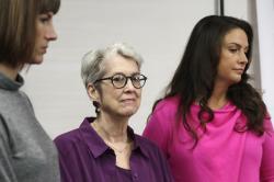 Rachel Crooks, left, Jessica Leeds, center, and Samantha Holvey attend a news conference.