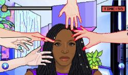 A scene from the Hair Nah computer game designed by Momo Pixel.
