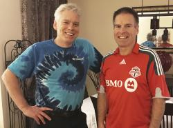 This Saturday, Dec. 2, 2017 photo provided by Jay Konduros, left, shows him and his brother, Bill, at Jay's home in Cambridge, Ontario, Canada