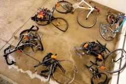 In this June 9, 2016 file photo, mangled bicycles are tagged as evidence at the Michigan State Police crime lab in Kalamazoo, Mich.