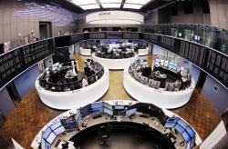 In this March 27, 2017 file photo, a general view of the trading room at the German stock market pictured in Frankfurt, Germany
