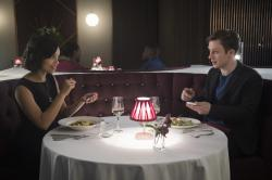 "Georgina Campbell, left and Joe Cole in ""Black Mirror"" episode ""Hang the DJ."""