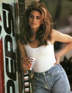 l Cindy Crawford in a scene from her 1992 iconic Super Bowl Pepsi commercial.