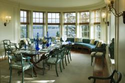 A dining room in a house on Penobscot Bay, Maine.