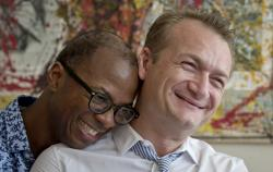 Clay Hamilton, left, and Adrian Coman, a US-Romanian gay couple who were married in Belgium and seek legal recognition of their status in Romania.