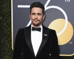 James Franco arrives at the 75th annual Golden Globe Awards.