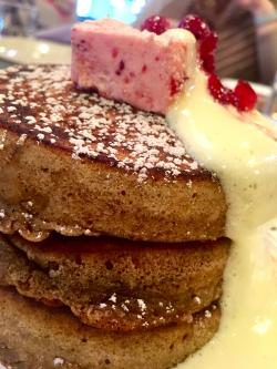 Gingerbread Pancakes with champagne syrup and cran jam butter.   Photo Credit: Tiger Mama