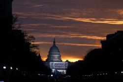 In this Friday, Jan. 20, 2017 file photo, the U.S. Capitol Building is illuminated during sunrise in Washington