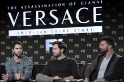 "Darren Criss, from left, Edgar Ramirez and Ricky Martin participates in the ""The Assassination of Gianni Versace: American Crime Story"" panel during the FOX Television Critics Association Winter Press Tour."