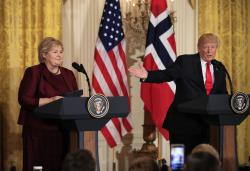 US President Donald Trump speaks during a joint news conference with Norwegian Prime Minister Erna Solberg in the East Room of the White House.