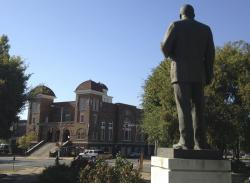 In this Oct. 15, 2015, file photo, a statue of Rev. Martin Luther King, Jr. overlooks the 16th Street Baptist Church in Birmingham, Ala.