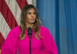 First lady Melania Trump addresses a luncheon at the U.S. Mission to the United Nations in New York. (September, 2017)
