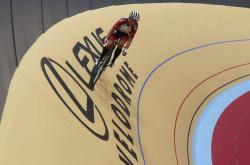 Debbie Cavender rides on the Lexus Velodrome in Detroit.