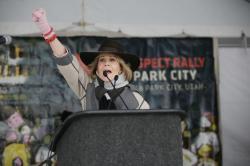 Actress Jane Fonda speaks at the Respect Rally Park City during the 2018 Sundance Film Festival.