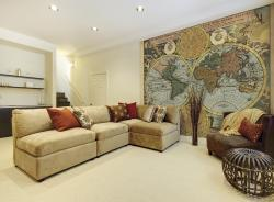 A room decorated with Global wallpaper available from Wayfair.