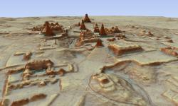 This digital 3D image provided by Guatemala's Mayan Heritage and Nature Foundation, PACUNAM, shows a depiction of the Mayan archaeological site at Tikal in Guatemala created using LiDAR aerial mapping technology