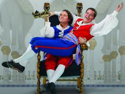 Michael Desnoyers as Marco and Samuel Rabinowitz as Giuseppe in Lamplighters Music Theatre's 'The Gondoliers.'