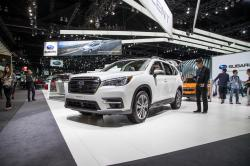 This photo provided by Edmunds shows Subaru's booth at the 2017 Los Angeles Auto Show