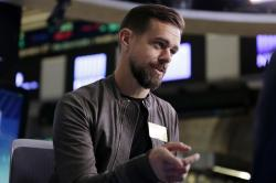In this Nov. 19, 2015, file photo, Square CEO Jack Dorsey is interviewed on the floor of the New York Stock Exchange